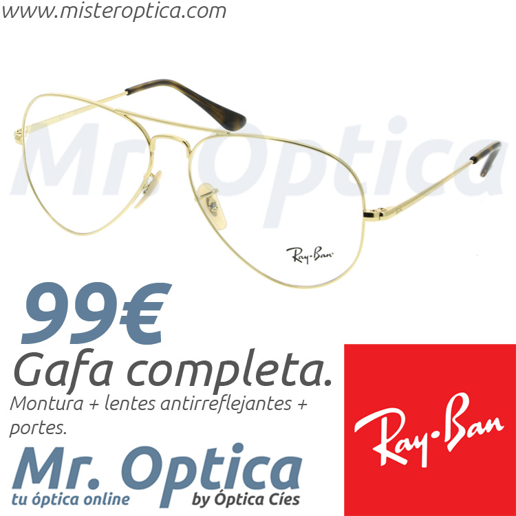 9a26a822e6 Gafas graduadas Ray Ban RB6489 Aviator 2500 55/14 140