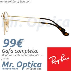 3aeb81da1e Gafas graduadas Ray Ban RB3447V Round Metal 2500 50 21 145